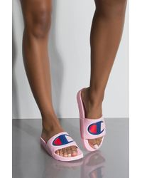 Champion - Womens Ipo Script And Big C Logo Slide Sandal - Lyst