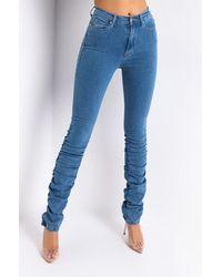 AKIRA Anitta Stacked High Waisted Skinny Jeans - Blue