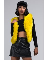 AKIRA Here To Party Faux Fur Vest - Yellow