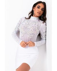 AKIRA Rhinestone Dreamin Pearl Long Sleeve Mesh Bodysuit - White