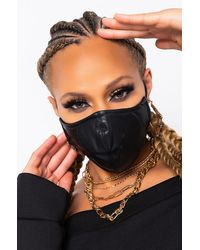 AKIRA Sleek Af Leatherette Fashion Face Mask Cover - Black