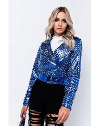 AKIRA Gonzo Pleather Studded Moto Jacket - Blue