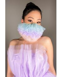 AKIRA Cotton Candy Dreams Ruffle Fashion Face Cover - Blue