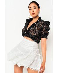 AKIRA On Your Own Button Down Blouse - White
