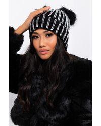 AKIRA Lexii Rhinestone Knit Mouse Beanie - Black