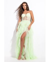 AKIRA Aria Corset Top Maxi Tulle Dress - Green