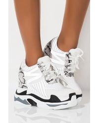 AKIRA Stop It Reflective Platform Wedge Sneaker - White