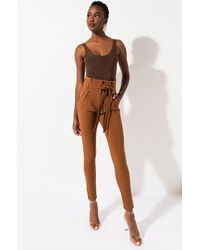 AKIRA Lala High Waist Paper Bag Pants - Brown