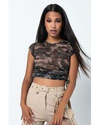 PAXTON Long Time Gone Short Sleeve Mesh Crop Top - Green