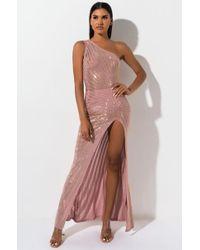 AKIRA - Come On Over Super Slit Studded Maxi Dress - Lyst