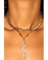 AKIRA Double Chain Rhinestone Serpent Choker - Metallic