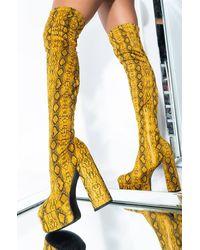 AKIRA Stayin Up All Night Thigh High Boot - Yellow