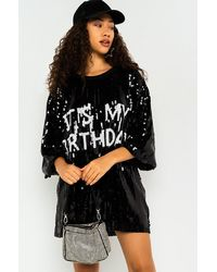 AKIRA Its My Birthday Sequin Tshirt Dress - Black