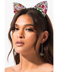 AKIRA Kat Like Rhinestone Cat Ears - Multicolor