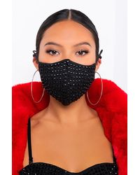AKIRA Move, Bitch Rhinestone Fashion Face Cover - Black