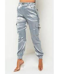 AKIRA Day Dreaming Satin Cargo Pant - Grey