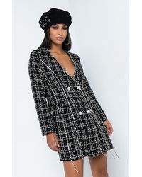 AKIRA Brunch For Two Long Sleeve Tweed Coat - Black