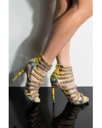 AKIRA Eat Your Heart Out Stiletto Chain Sandal - Metallic