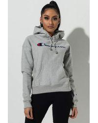 Champion Chainstitch Script Logo Pullover Hoodie - Gray