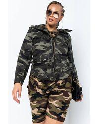 AKIRA Plus I'm A Survivor Camo Trench Jacket - Green