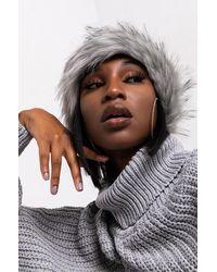 AKIRA Faux Fur Wrap Around Headband - Grey