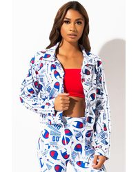 Champion Printed Cropped Coaches Jacket - Blue