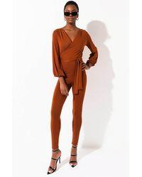 AKIRA Classy Girl Soft Ponte Jumpsuit - Brown