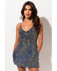 AKIRA All That Attitude Sequin Mini Dress - Metallic