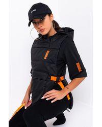AKIRA Puma Womens Central Saint Martins Padded Hoodie Vest - Black