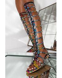 AKIRA Before You Go Rhinestone Studded Gladiator Sandal - Multicolor