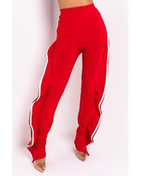 AKIRA Come Get It Sporty Fashion Trousers - Red