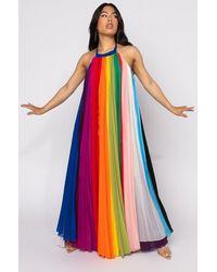 AKIRA I Am Me Wes Rainbow Chiffon Pleated Maxi Dress - Multicolour
