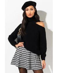 AKIRA One Cold Shoulder Turtleneck Sweater - Black