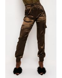 AKIRA Don't Give Up Satin Cargo Trousers - Brown