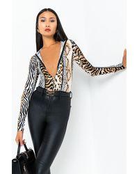 AKIRA Mood Swings Long Sleeve Hoodie Animal Print Bodysuit - Black