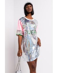 AKIRA Birthday Queen Sequin Shirt Dress - Blue