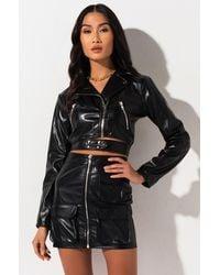 AKIRA Rocker Vibe Faux Leather Jacket - Black