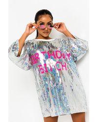 AKIRA Birthday Bitch Sequin Tshirt Dress - Blue
