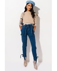 AKIRA Eyes On You High Waisted Tie Ankle Jeans - Blue