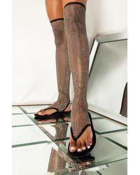 AKIRA Burnin Up Sparklin Thigh High Flat Sandal - Black