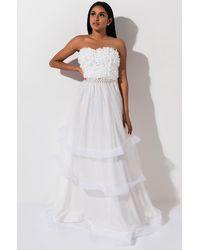 AKIRA Blossom Babe Layered Tulle Maxi Skirt - White