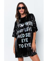 AKIRA On My Level Sequin Shirt Dress - Black