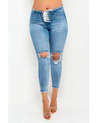 AKIRA Lace Me Up Mid Rise Skinny Jeans - Blue