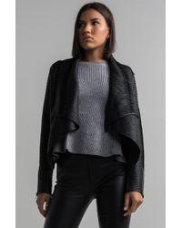 AKIRA Textured Leather Bomber - Black