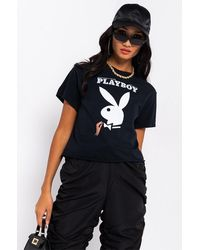 AKIRA Playboy Classic Short Sleeve Crop Top - Black