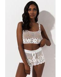 AKIRA Do U Wrong Crochet Crop Top - White
