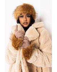AKIRA Faux Fur Wrap Around Headband - Multicolour