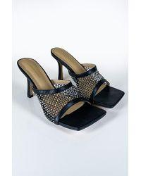 AKIRA Let's Get Slinky Rhinestone Sandal - Black