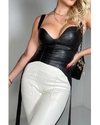 AKIRA No New Friends Vegan Leather Corset - Black