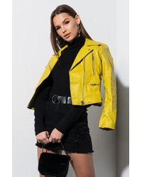 AKIRA The Classic Leather Moto Jacket - Yellow